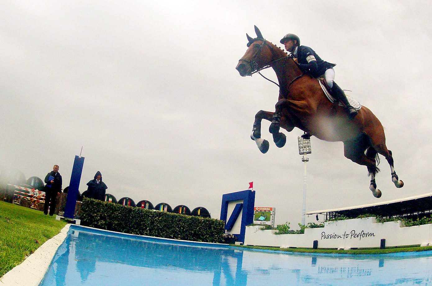 Scott Brash rides on Hello Sanctos and wins the Rolex Grand Prix jumping competition of the 2015 CHIO Aachen tournament.