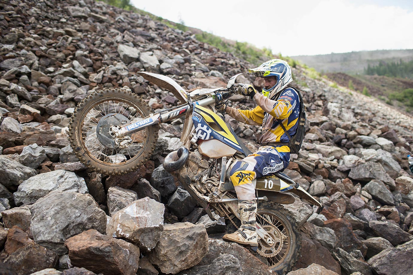 Great Britain's Graham Jarvis makes some noise at the Red Bull Hare Scramble in Austria on June 7.