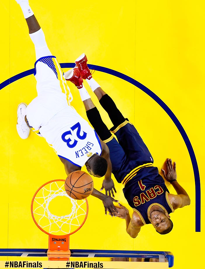 Draymond Green of the Golden State Warriors goes up against James Jones of the Cleveland Cavaliers in Game 5 of the NBA Finals.