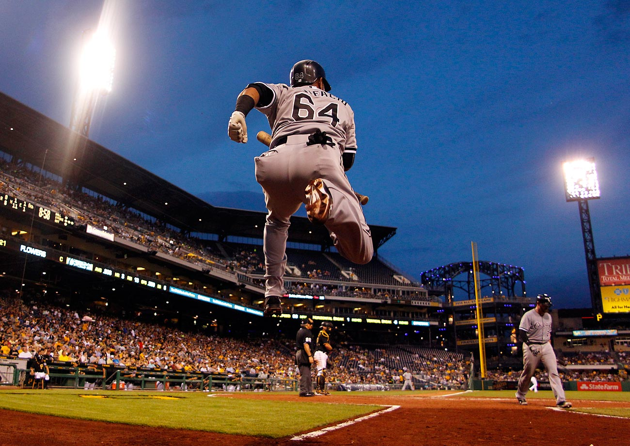 Emilio Bonifacio of the Chicago White Sox warming up in the on-deck circle during a game against the Pittsburgh Pirates.