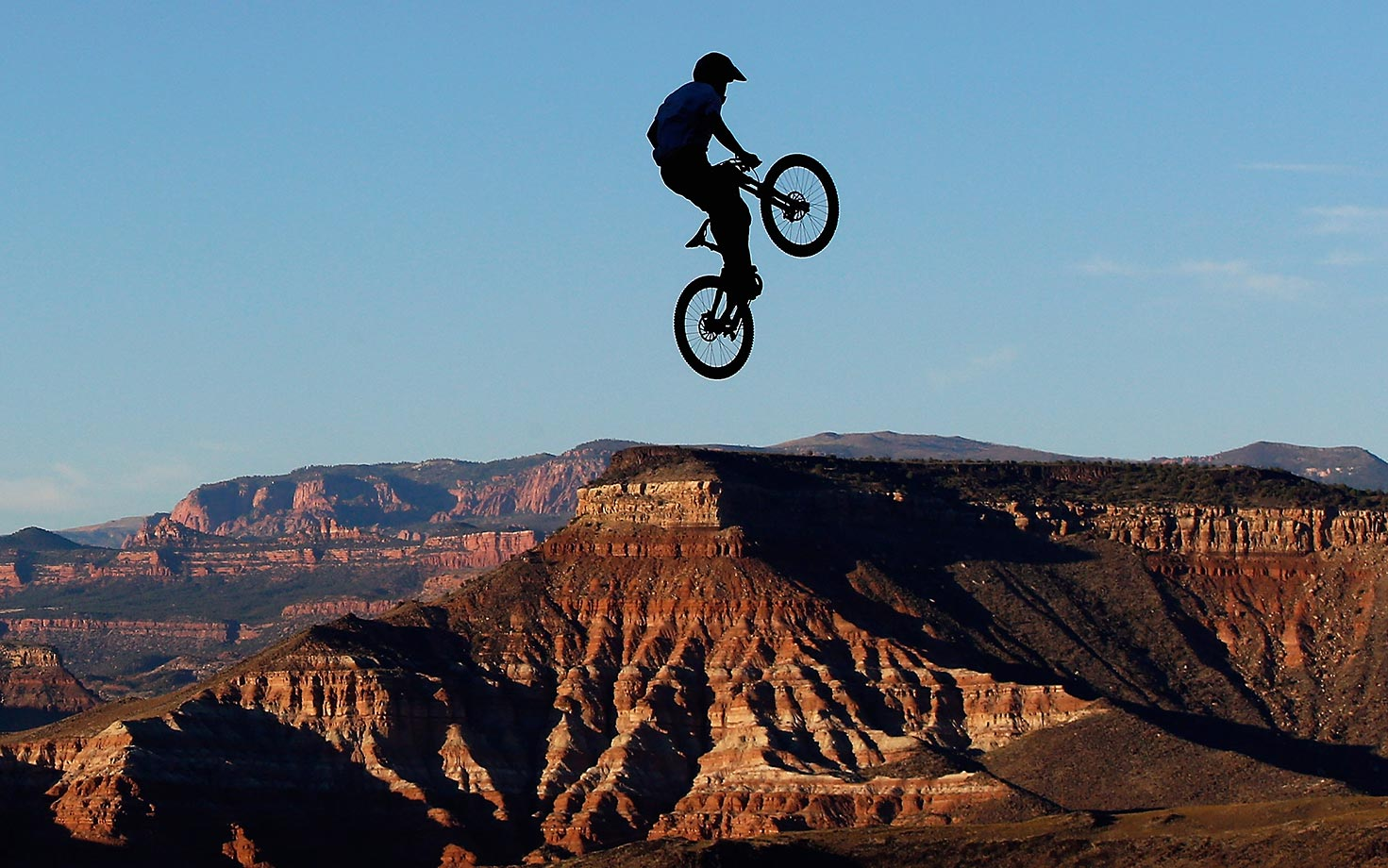 Nicholi Rogatkin goes over a jump for the Red Bull Rampage in Utah.