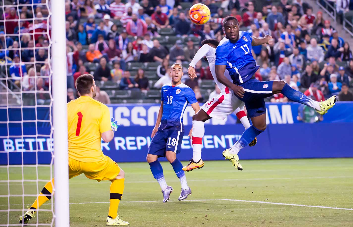 Jozy Altidore heads home the game winner during the friendly match between the United States and Canada at the StubHub Center in Carson, Calif.
