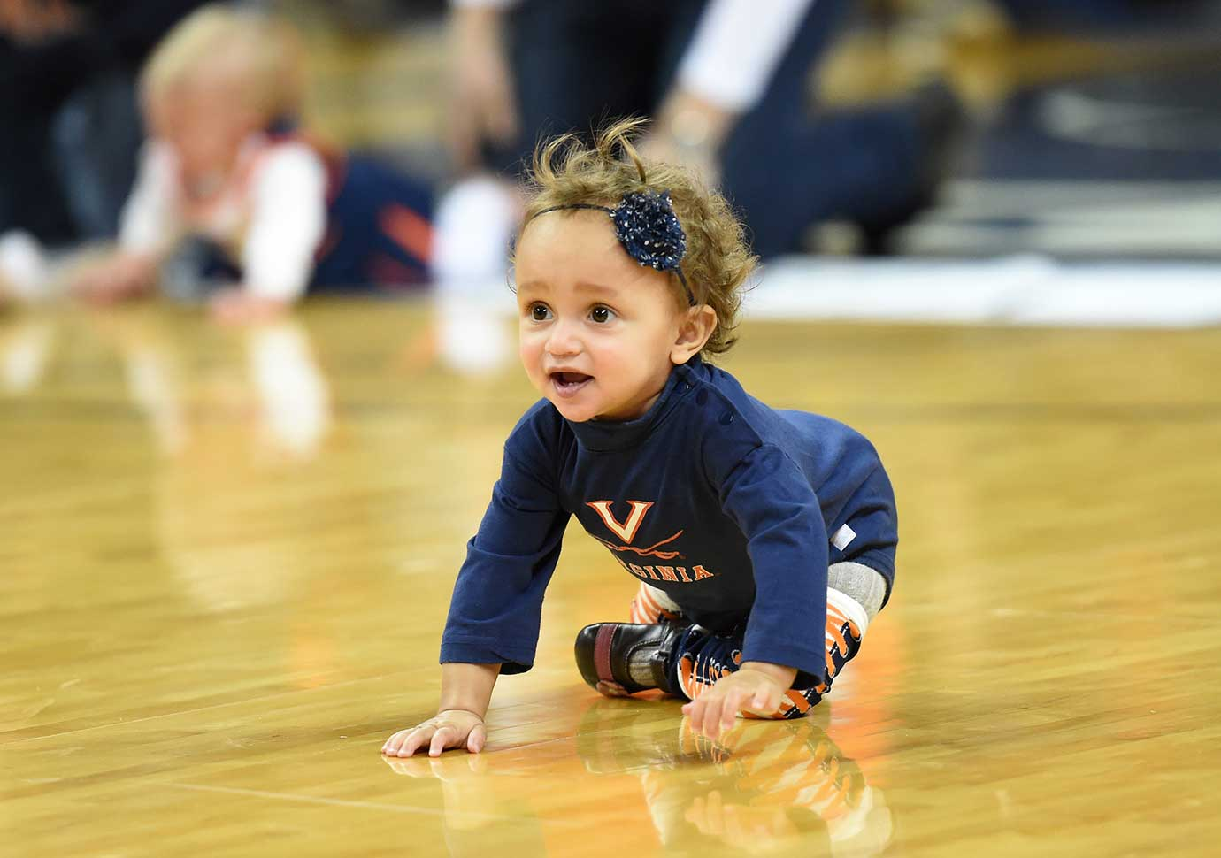 Virginia held a diaper derby before its game against the Virginia Tech Hokies Tuesday night.