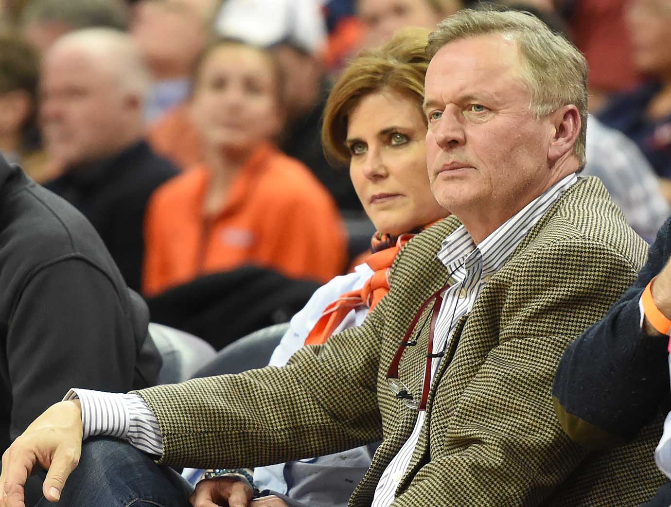 Writer John Grisham looks on during a college basketball game between Virginia and Virginia Tech in Charlottesville.