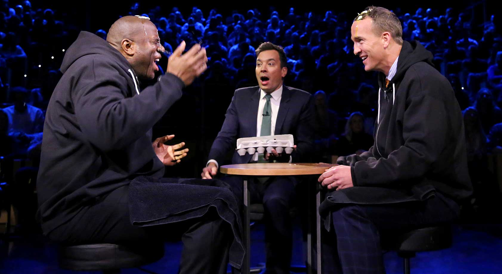 Magic Johnson and Peyton Manning play Egg Russian Roulette on Fallon.