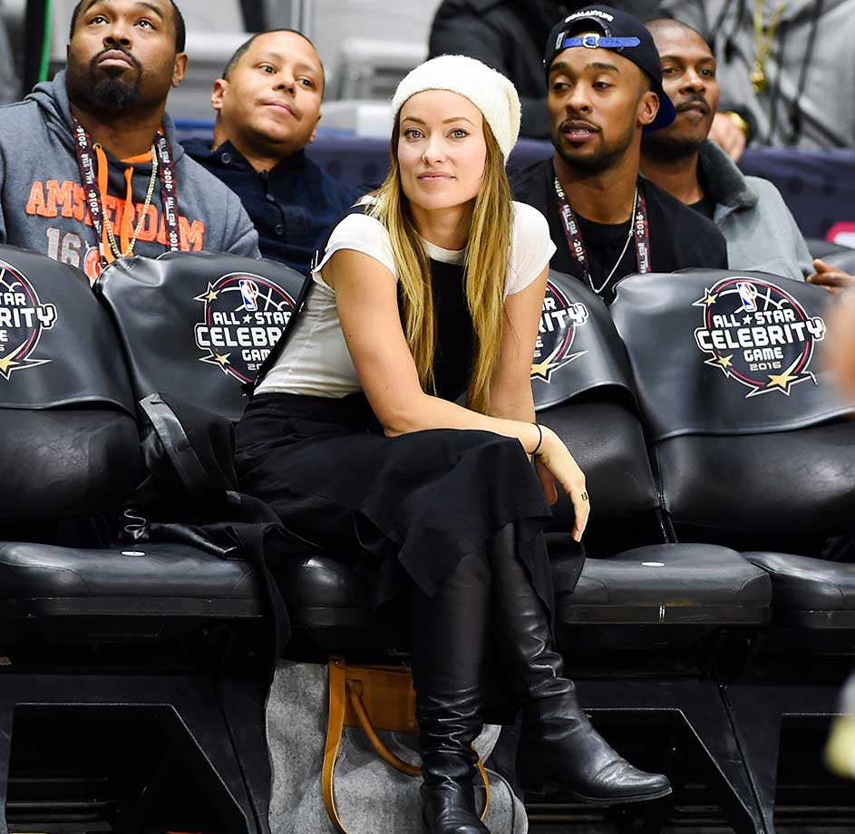 Actress Olivia Wilde attends the 2016 NBA All-Star Celebrity Game at Ricoh Coliseum in Toronto,.