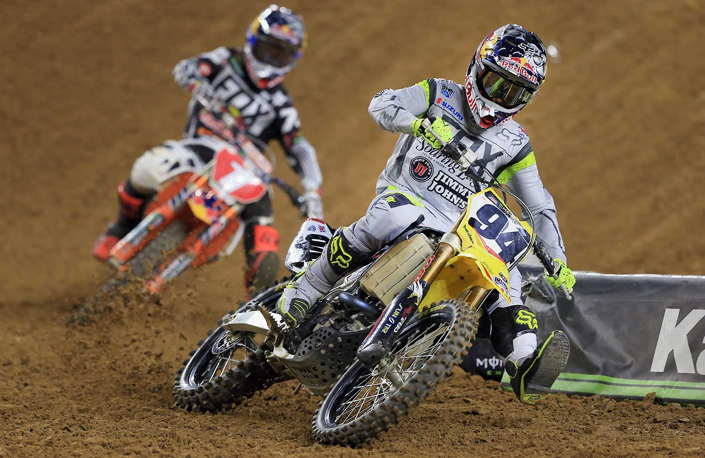 Ken Roczen leads Ryan Dungey into a corner during the 450SX Main during the Monster Energy AMA Supercross in Arlington, Texas.