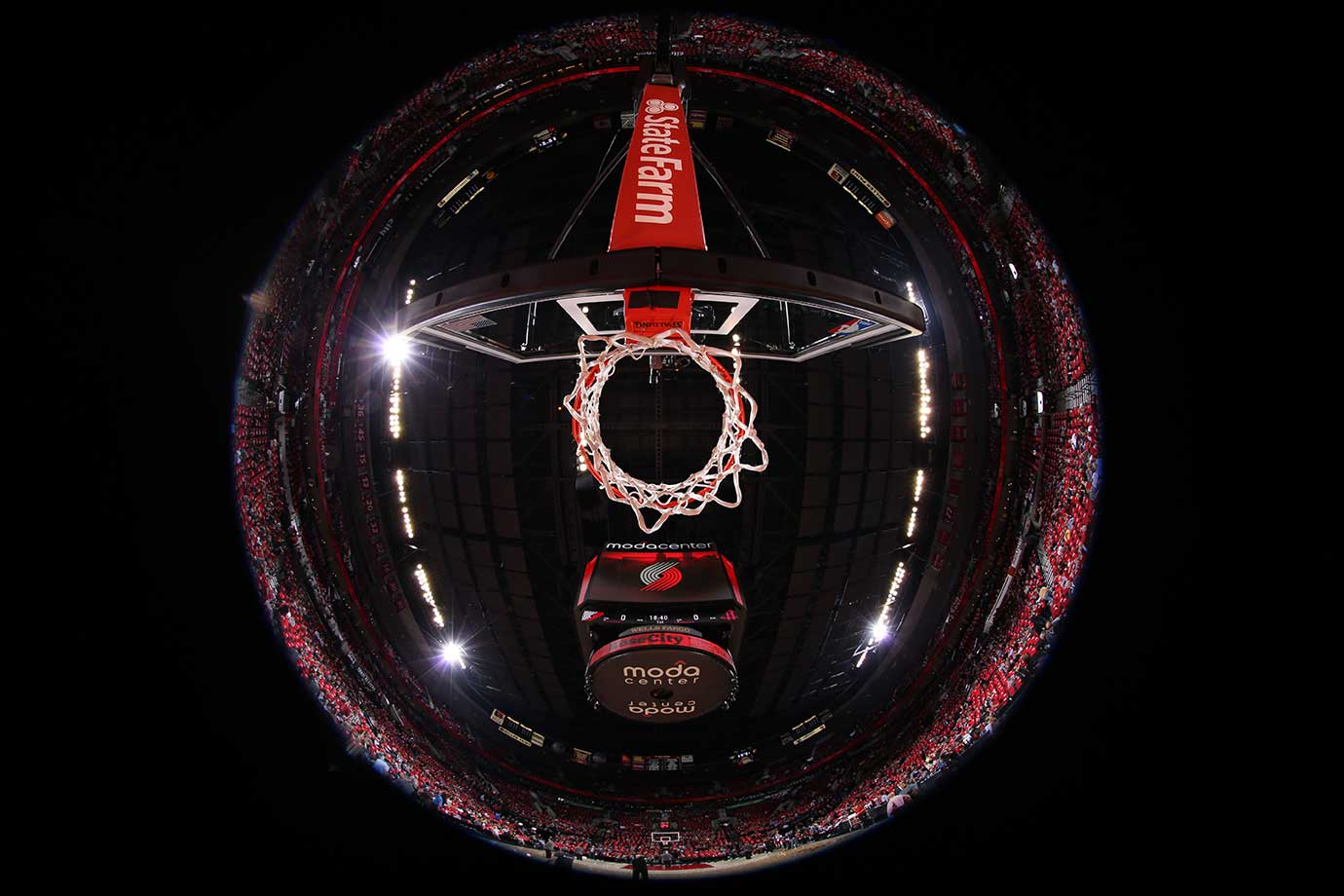 The Moda Center arena in Portland before the Trail Blazers played the Houston Rockets.
