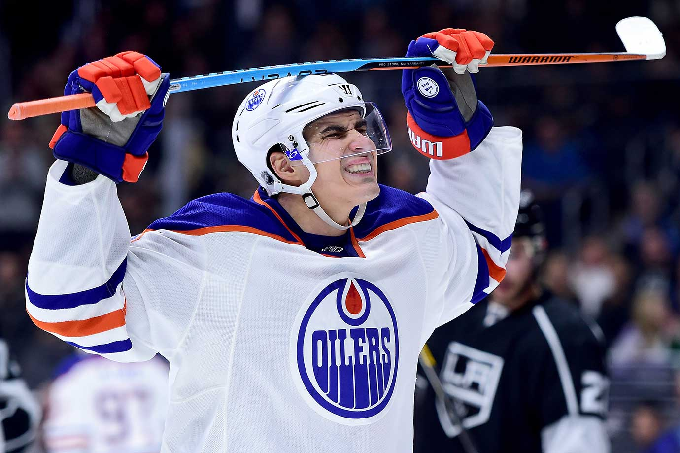Nail Yakupov of Edmonton reacts after a missed chance to score during a 2-1 loss to the L.A. Kings.