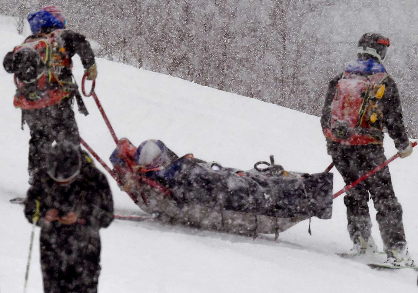 Lindsey Vonn is carried out on a rescue sled after falling during the World Cup Super G.