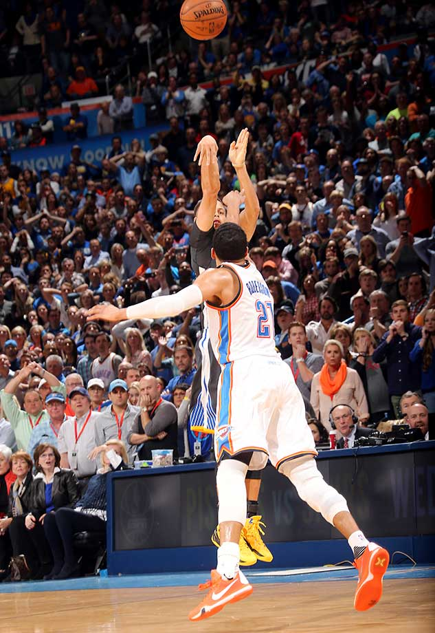A different angle of Steph Curry's game-winning shot against the Oklahoma City Thunder.