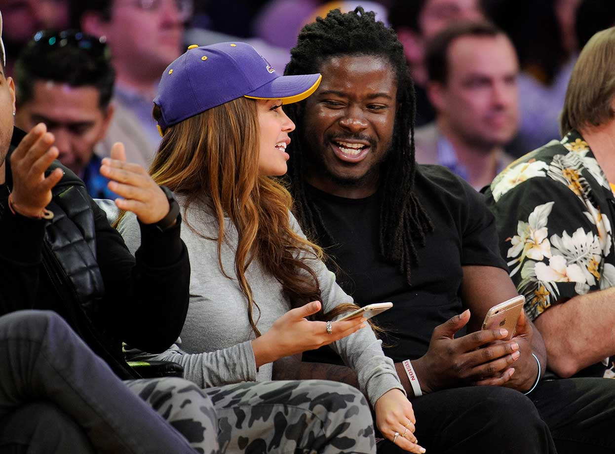 Eddie Lacy attends a basketball game between the Brooklyn Nets and the Los Angeles Lakers at Staples Center.