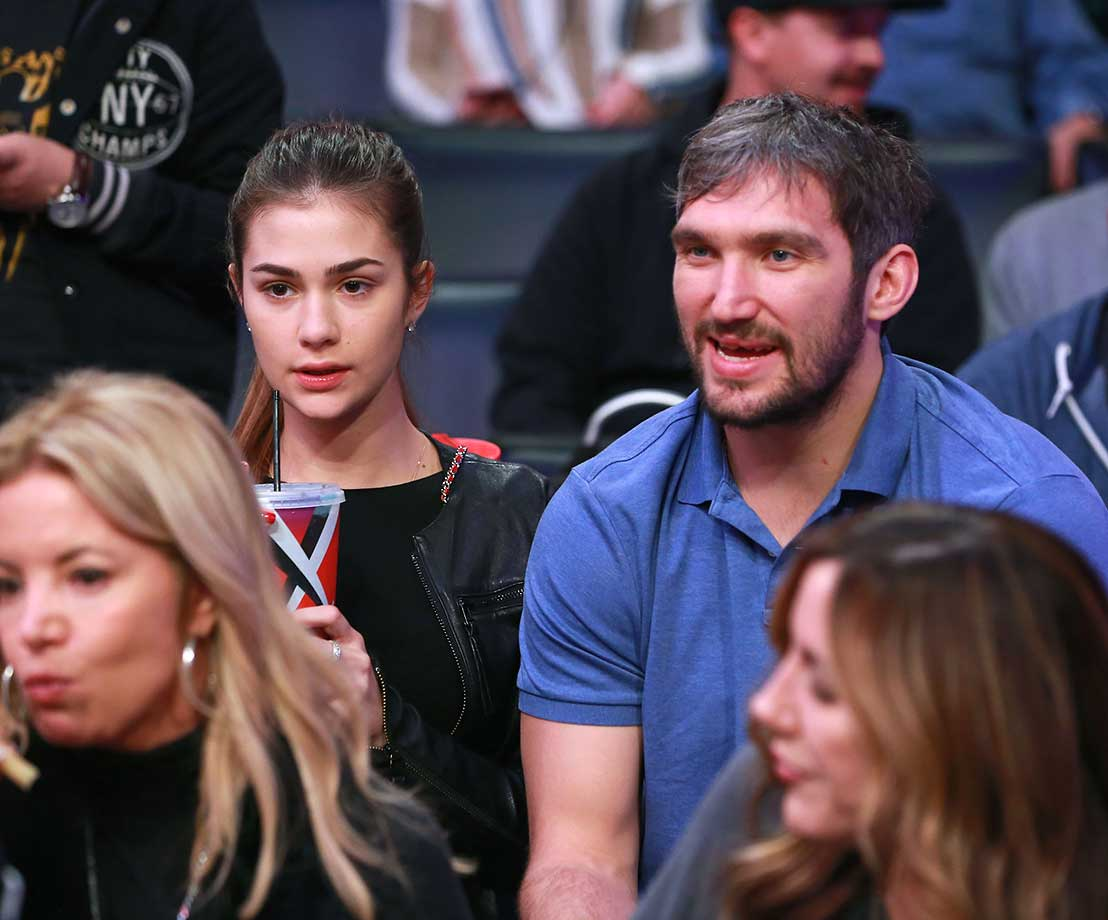 Alex Ovechkin attends the game between the Orlando Magic and the Lakers in Los Angeles.