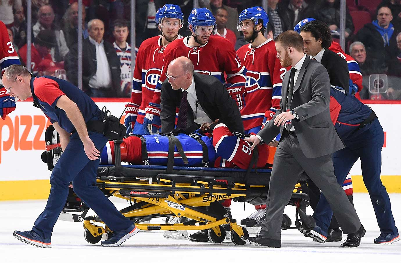 P.K. Subban of the Canadiens is taken off the ice on a gurney after a collision with teammate Alexei Emelin.