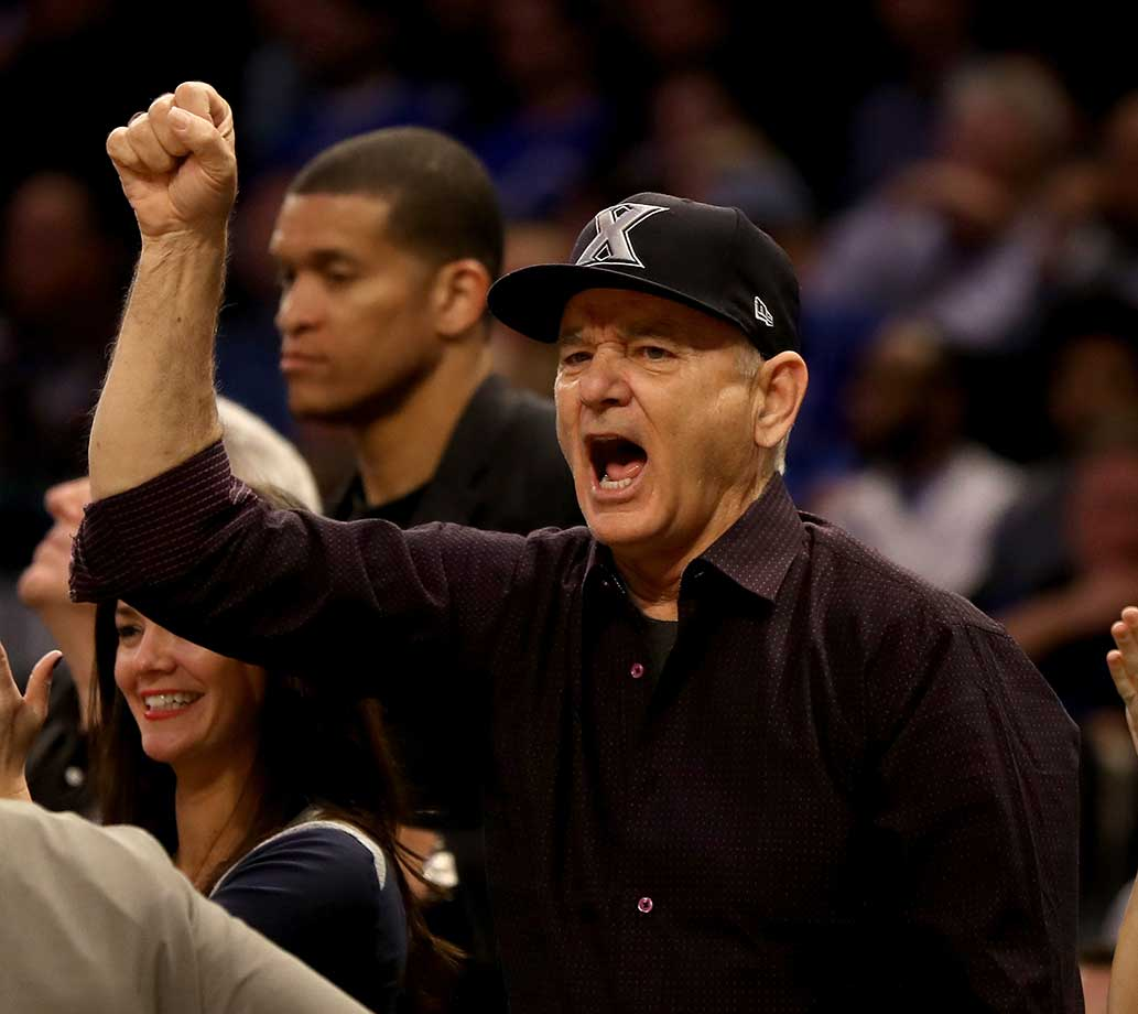 Actor Bill Murray cheers on the Xavier Musketeers during their 87-83 loss to Seton Hall.