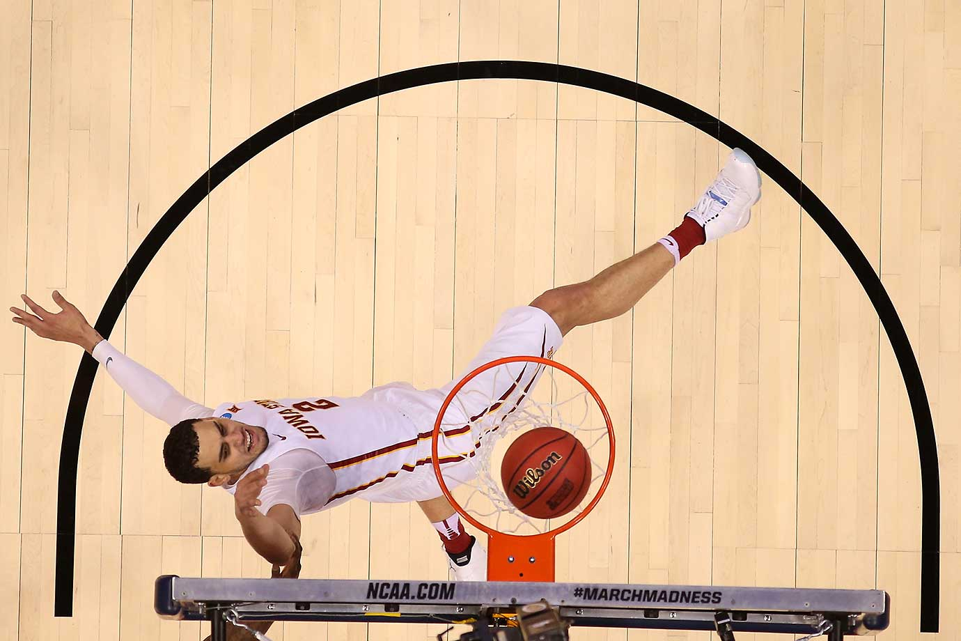Abdel Nader of Iowa State completes a shot after being fouled by the Iona Gaels.