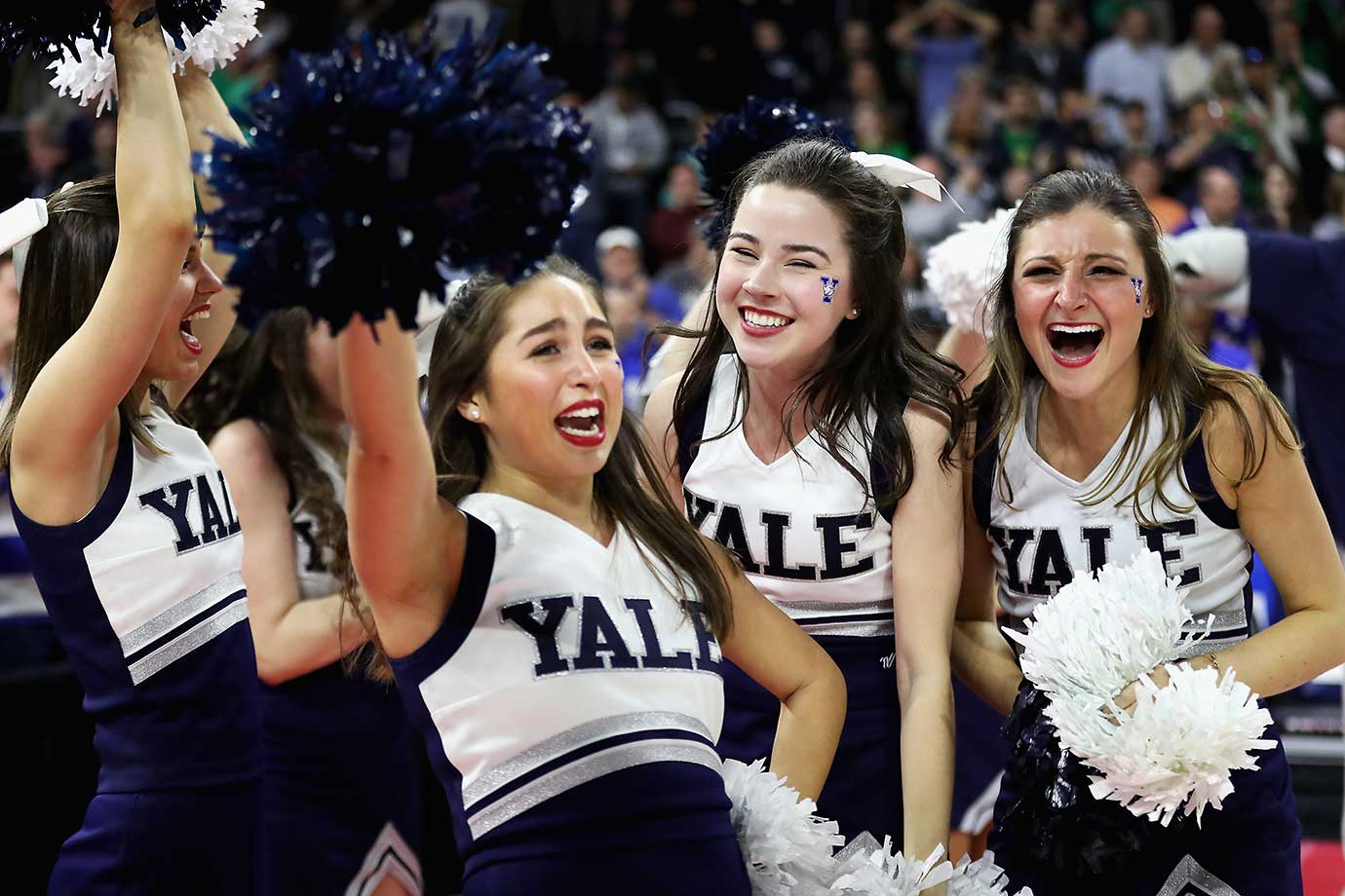 The Yale cheerleaders had plenty to be happy about after the Bulldogs knocked off Baylor in the NCAA Tournament.