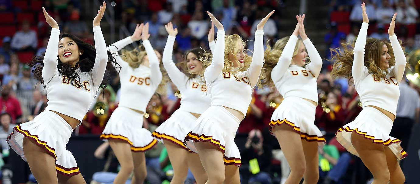 USC Trojans cheerleaders perform in the game against the Providence Friars.