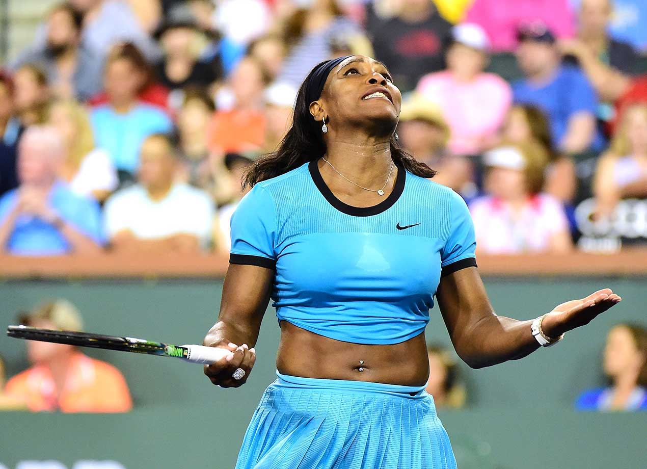Serena Williams reacts to a lost point in her straight set win over Agnieszka Radwanska of Poland.