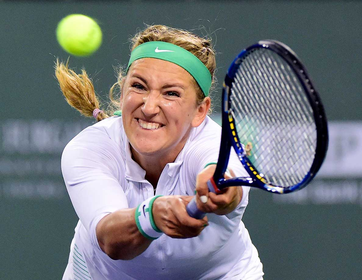 Victoria Azarenka of Belarus hits a backhand in her match against Karolina Pliskova of the Czech Republic.