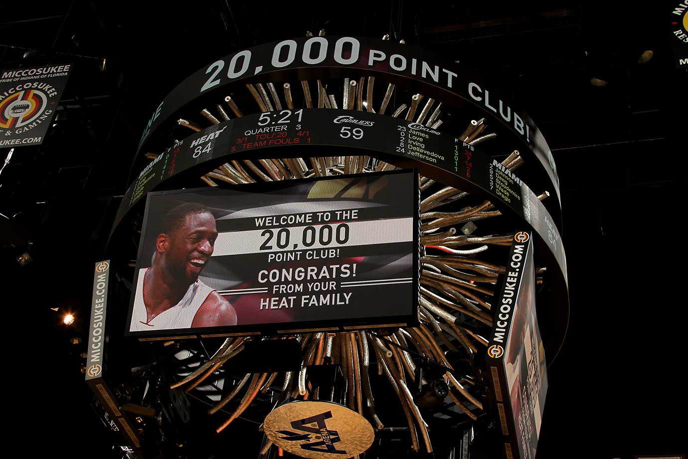 Dwyane Wade of the Miami Heat scored his 20,000th point Saturday in a game against the Cleveland Cavaliers.