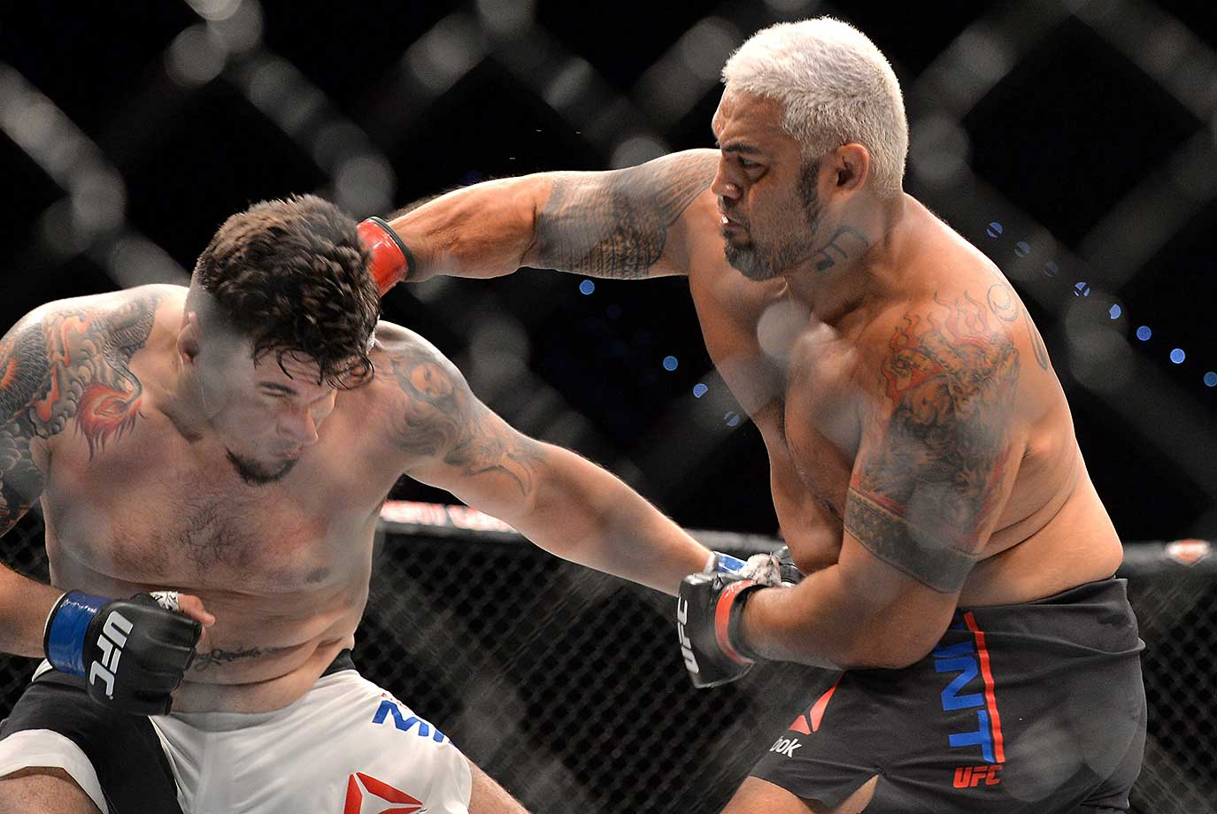 Mark Hunt delivers the knockout punch against Frank Mir during their UFC heavyweight bout at UFC Brisbane.