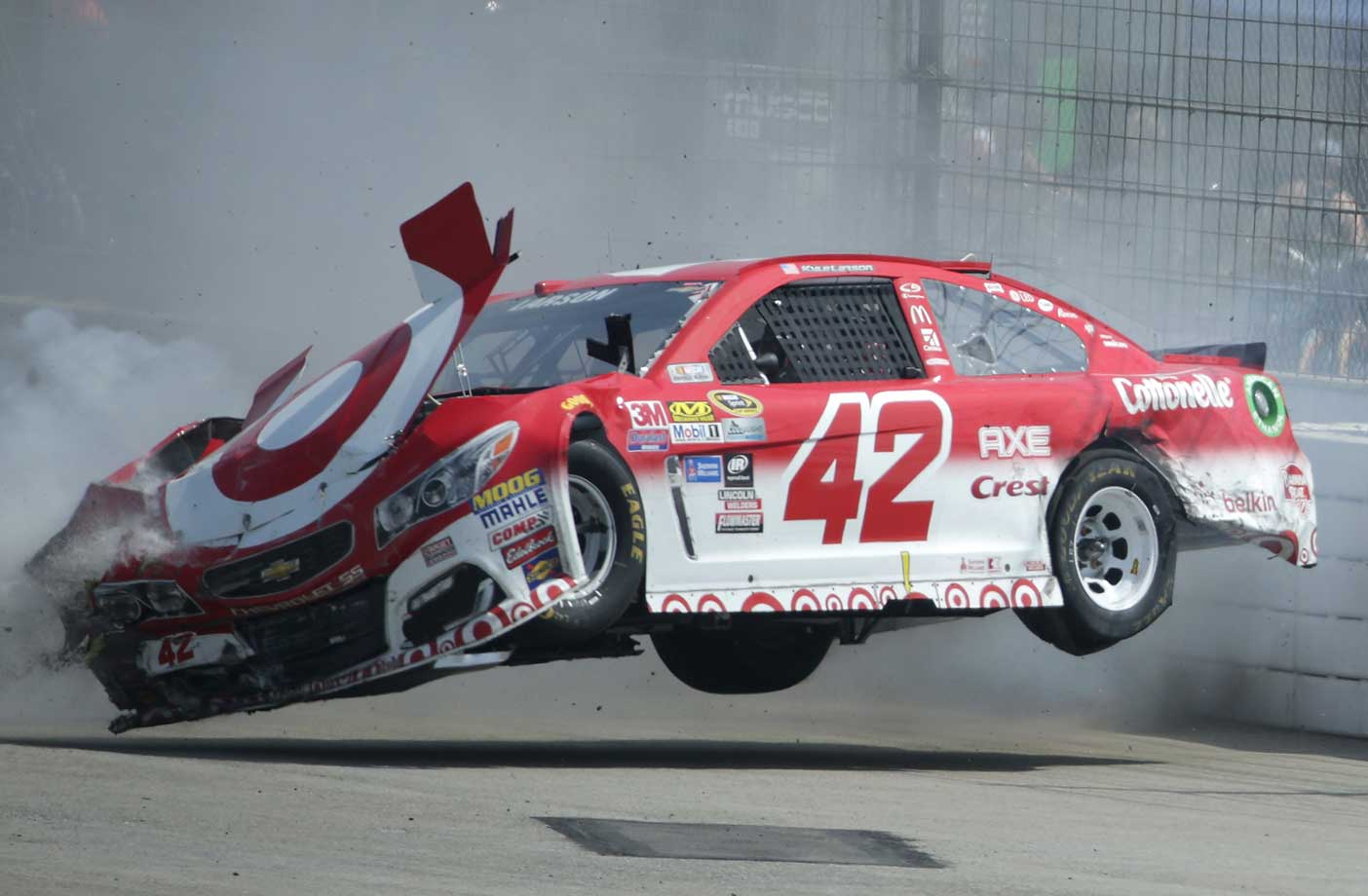 Kyle Larson after an on-track incident during the NASCAR Sprint Cup Series Auto Club 400 in Fontana, Calif.