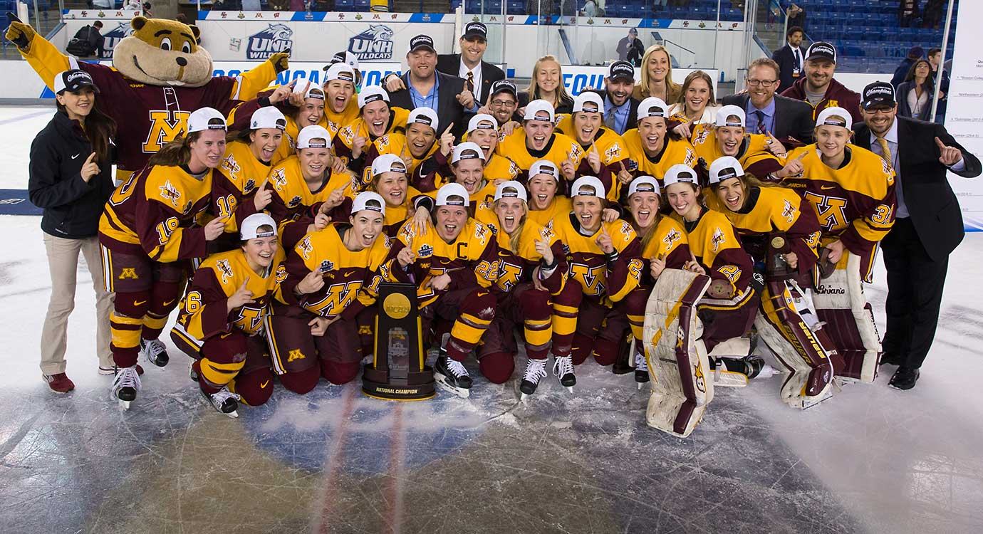 The Minnesota Golden Gophers after winning the 2016 NCAA Division I Women's Hockey Frozen Four Championship against Boston College.