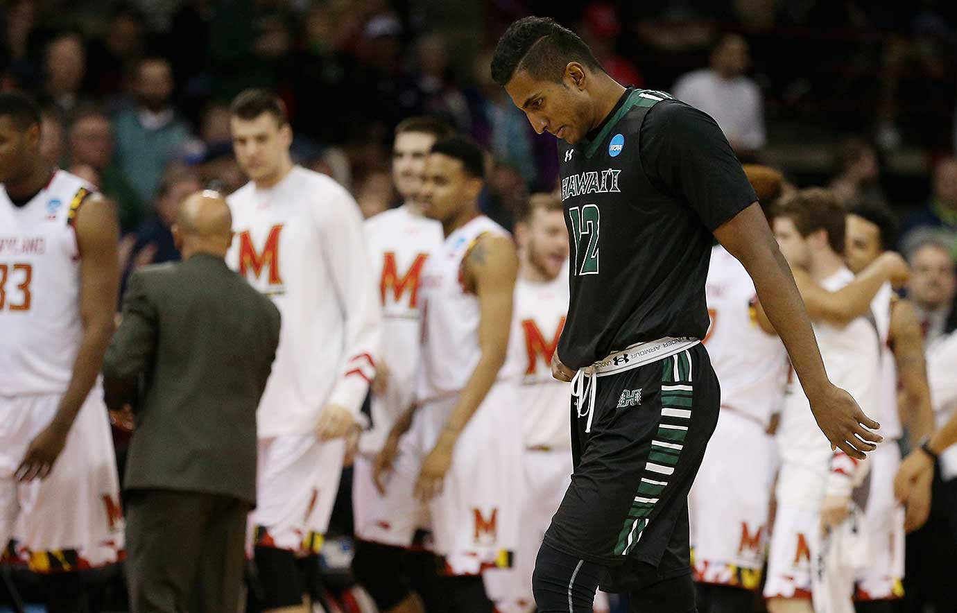 Sai Tummala of the Hawaii Warriors reacts to a 70-63 loss to Maryland on Sunday.