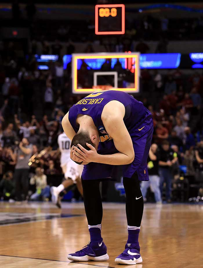 Klint Carlson of the Northern Iowa Panthers reacts after being defeated by the Texas A&M Aggies in double overtime.