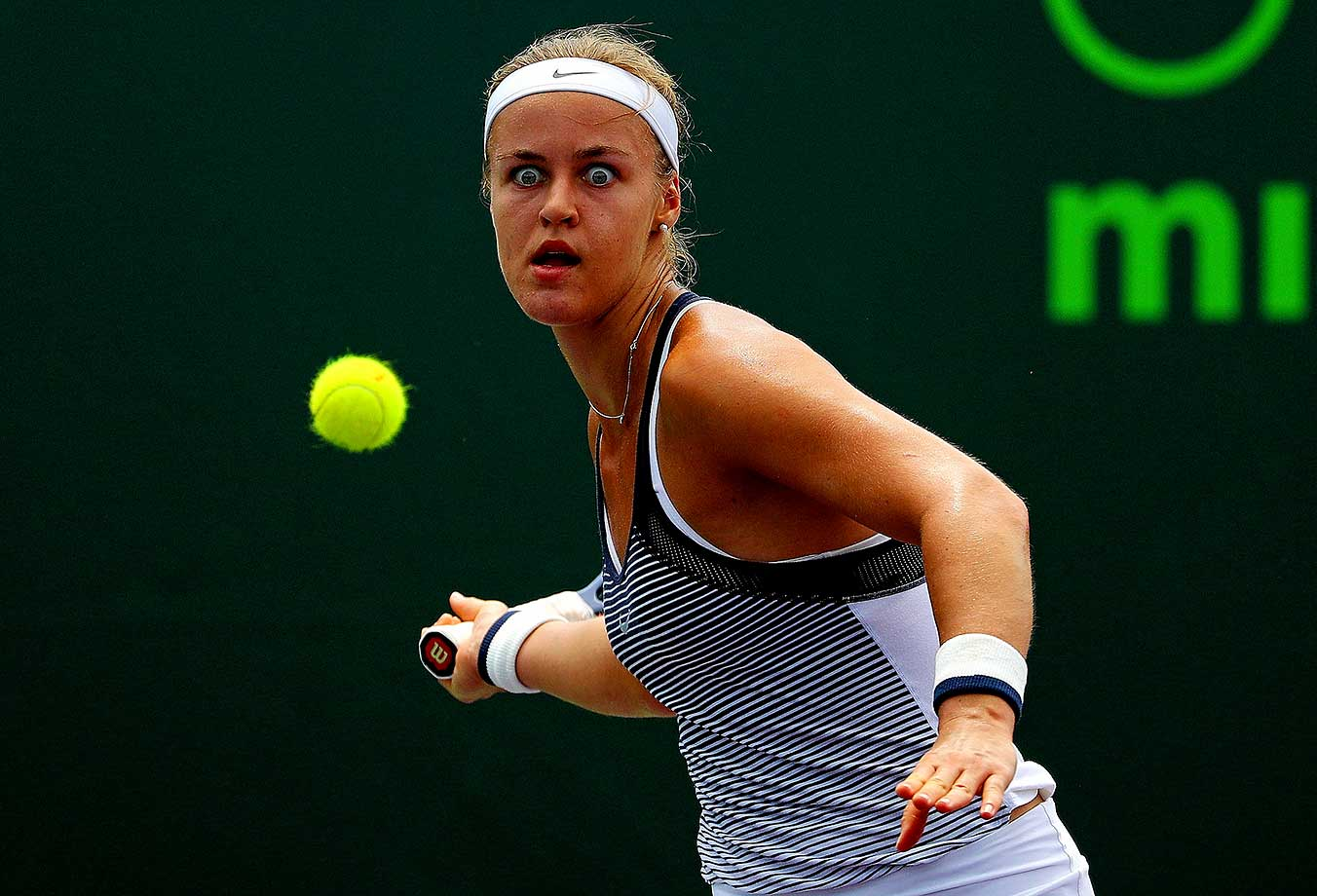 Anna Karolina Schmedlova of Slovakia keeps her eyes on the ball during Day 4 of the Miami Open in Key Biscayne, Fla.