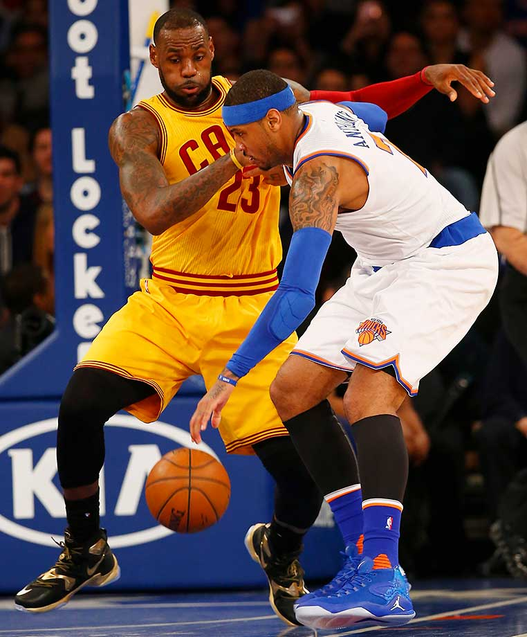 Days after he said he'd take a pay cut to play alongside Carmelo Anthony, LeBron James got to play against  him in a Cavs win over the Knicks at Madison Square Garden.