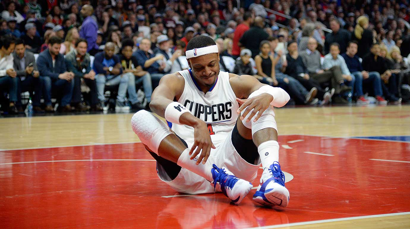 Paul Pierce of the Clippers in disgust after suffering a right ankle sprain and right knee contusion against the Boston Celtics.