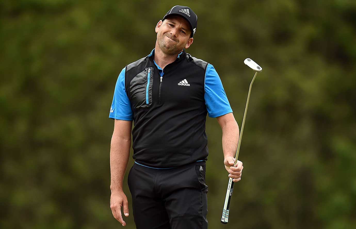 Sergio Garcia of Spain reacts to a missed birdie putt on the fifth hole at the Shell Houston Open  in Humble, Texas.