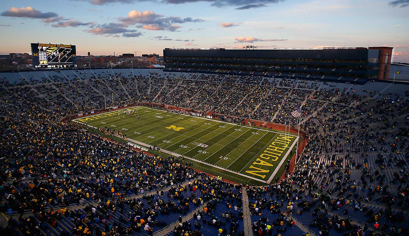 An overhead view of Michigan Stadium during the Wolverines spring game.