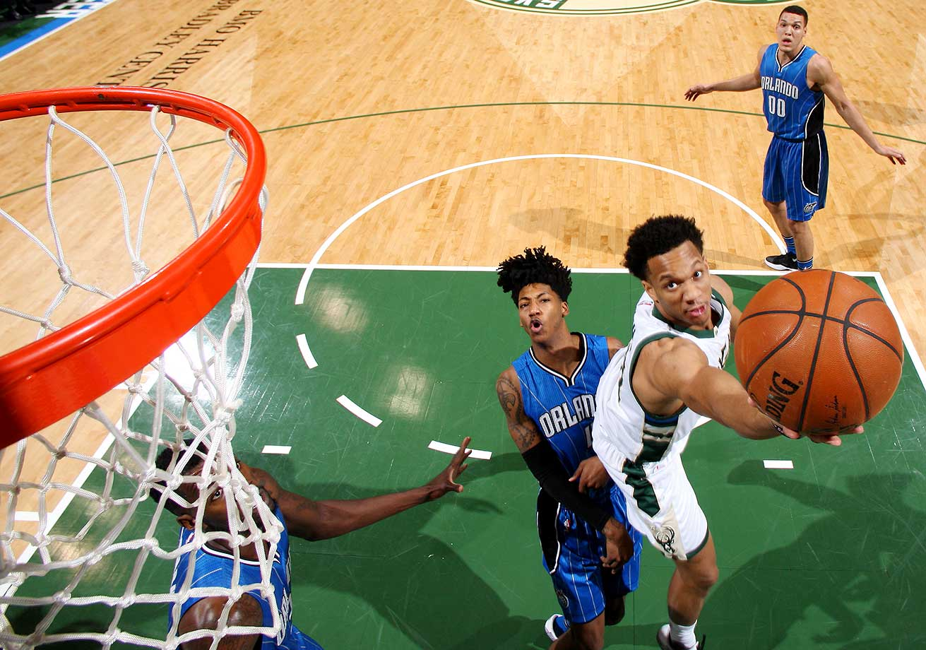 Rashad Vaughn of the Milwaukee Bucks goes for the layup during the game against the Orlando Magic.