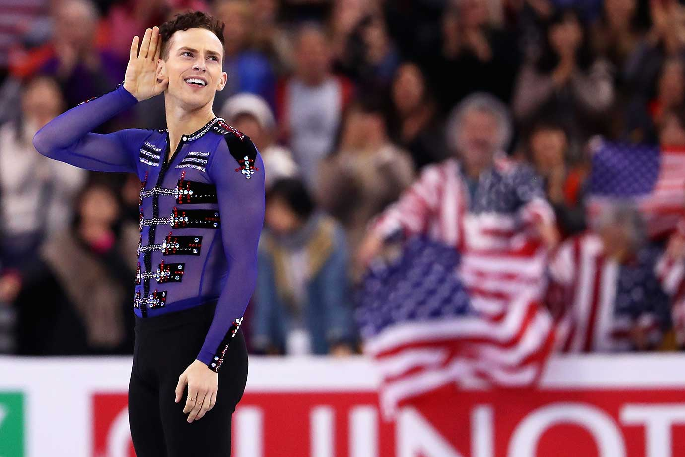 Adam Rippon of the United States celebrates after completing his routine in the Free Skate program at the World Figure Skating Championships.
