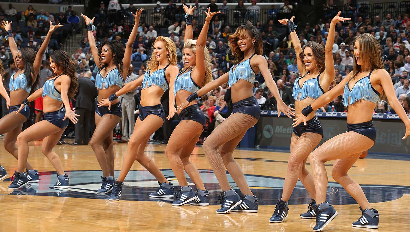 The Memphis Grizzlies dance team performs during the game against the Toronto Raptors.
