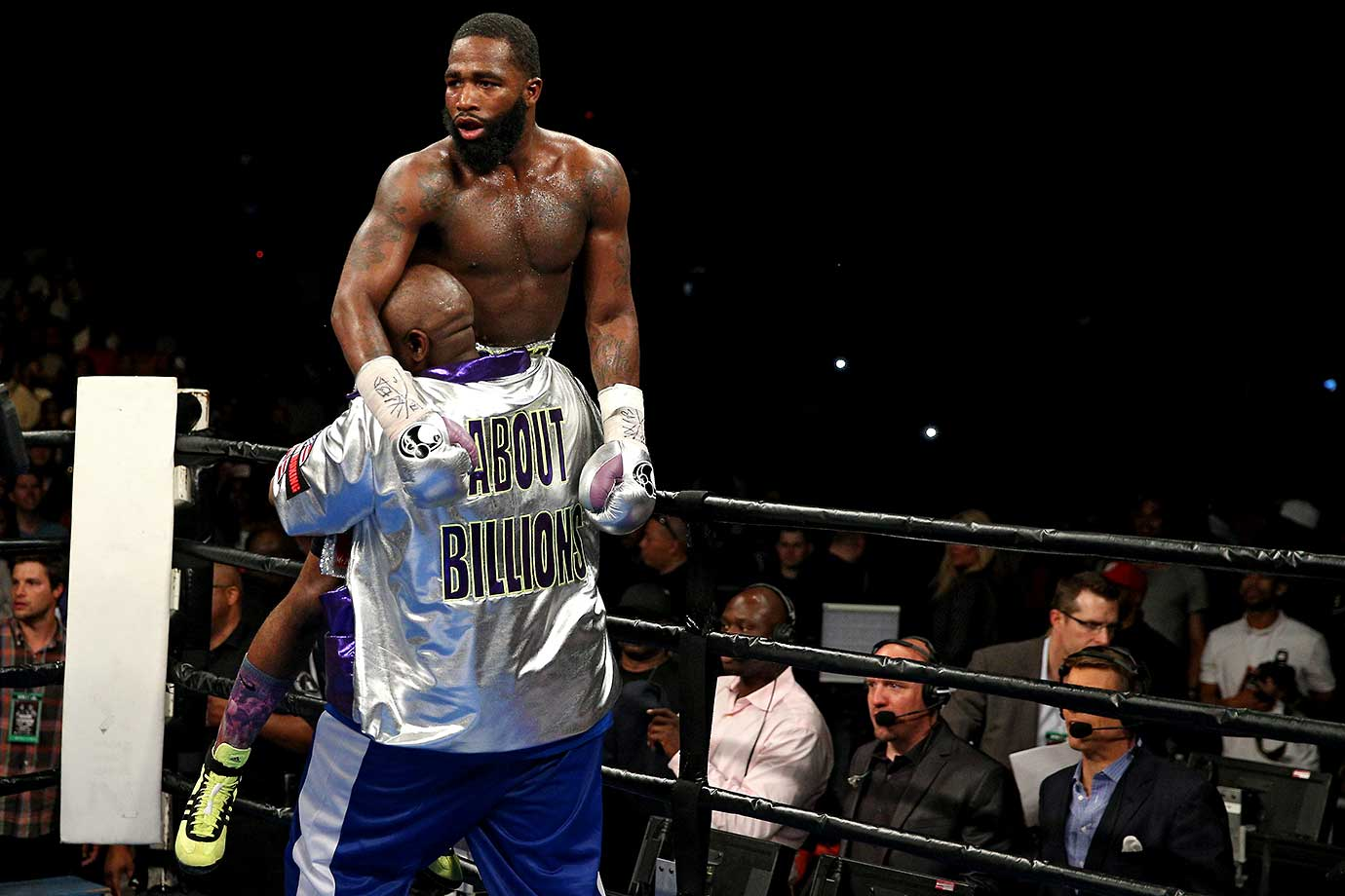 Adrien Broner celebrates after defeating Ashley Theophane by TKO in the ninth round in their super lightweight championship bout.