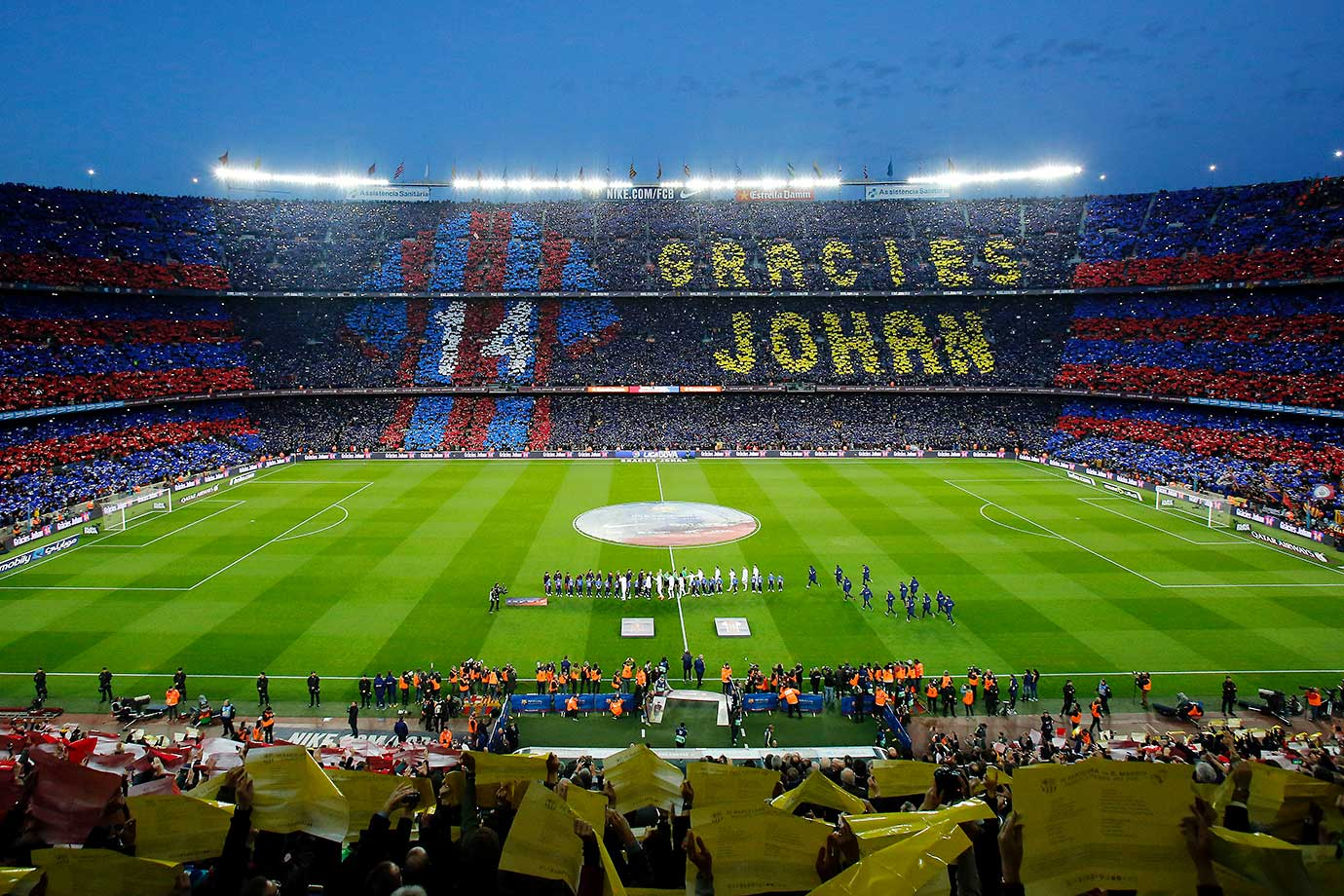 "Football supporters hold-up coloured rectangular posters to form a giant mosaic reading, ""Thank you Johan,"" in tribute to late Dutch football player Johan Cruyff before the Spanish league Clasico football match between Barcelona and Real Madrid."