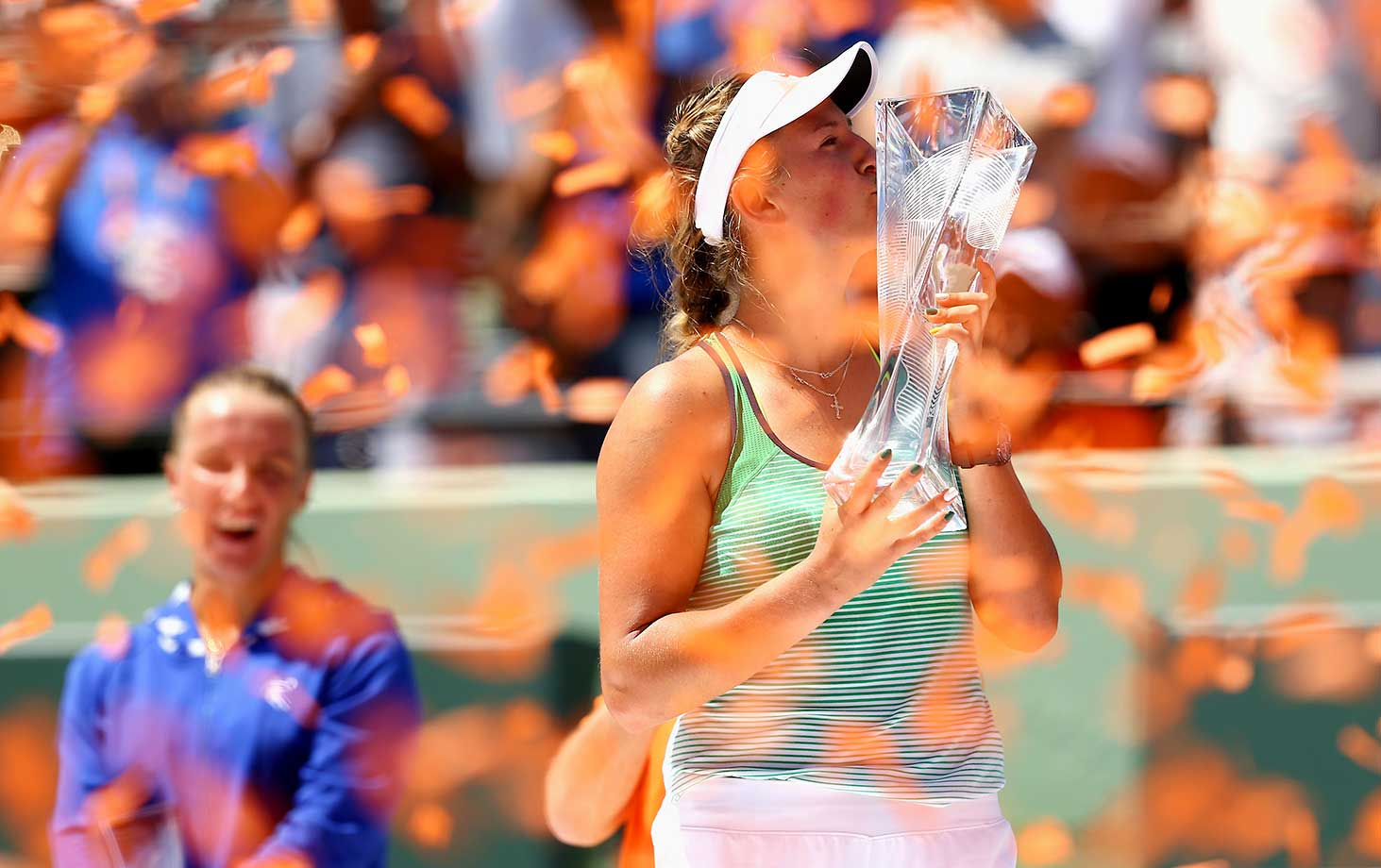Victoria Azarenka holds aloft the trophy after winning the Miami Open in straight sets over Svetlana Kuznetsova.