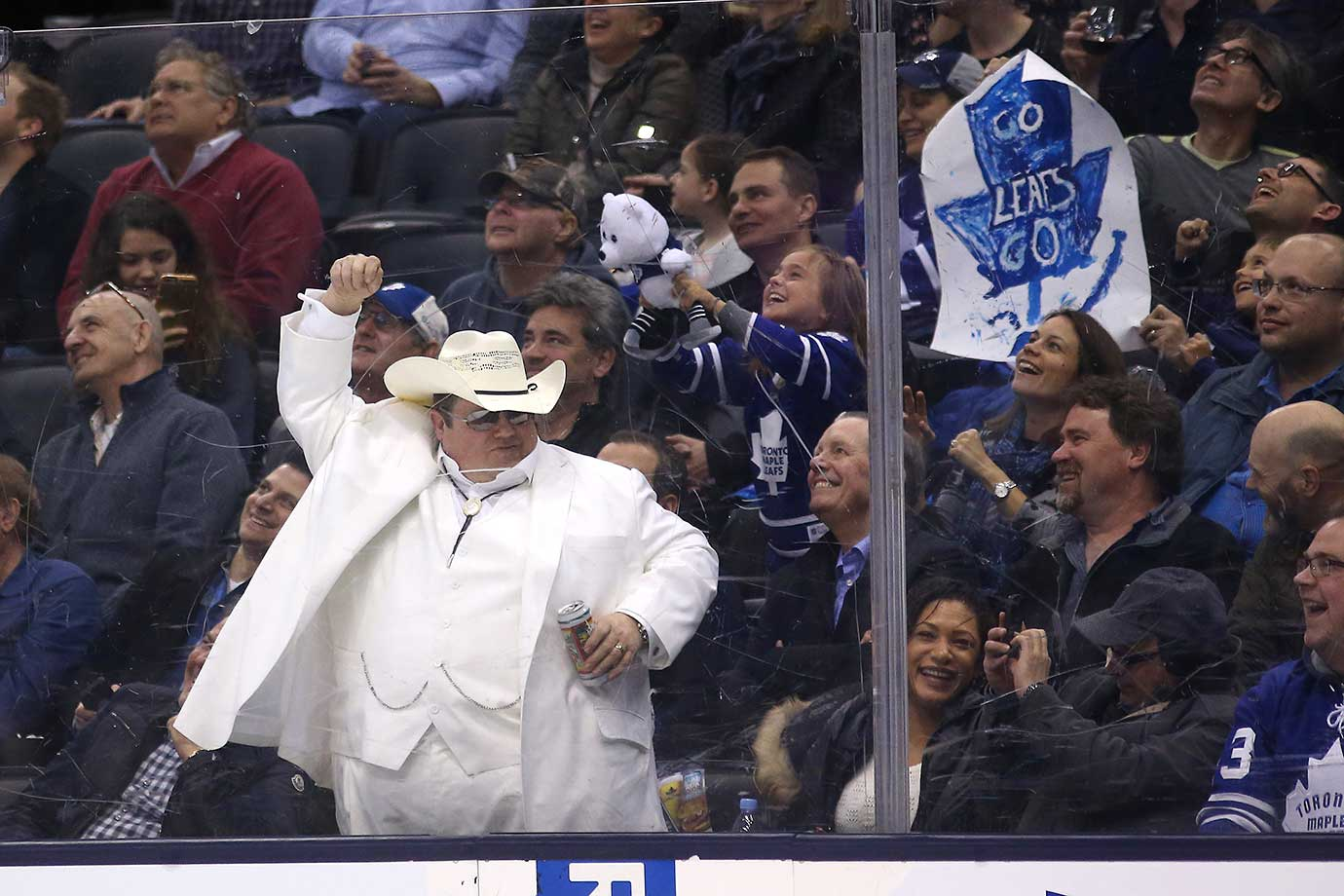 A fan dress like Bogg Hog from the Dukes of Hazard tries to get the Leafs fans going as Toronto played  Detroit.
