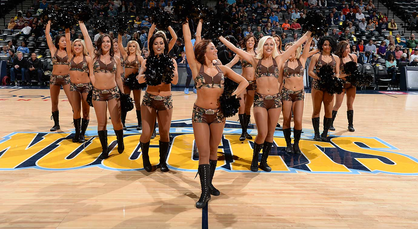 The Denver Nuggets dancers before the game against the Sacramento Kings.