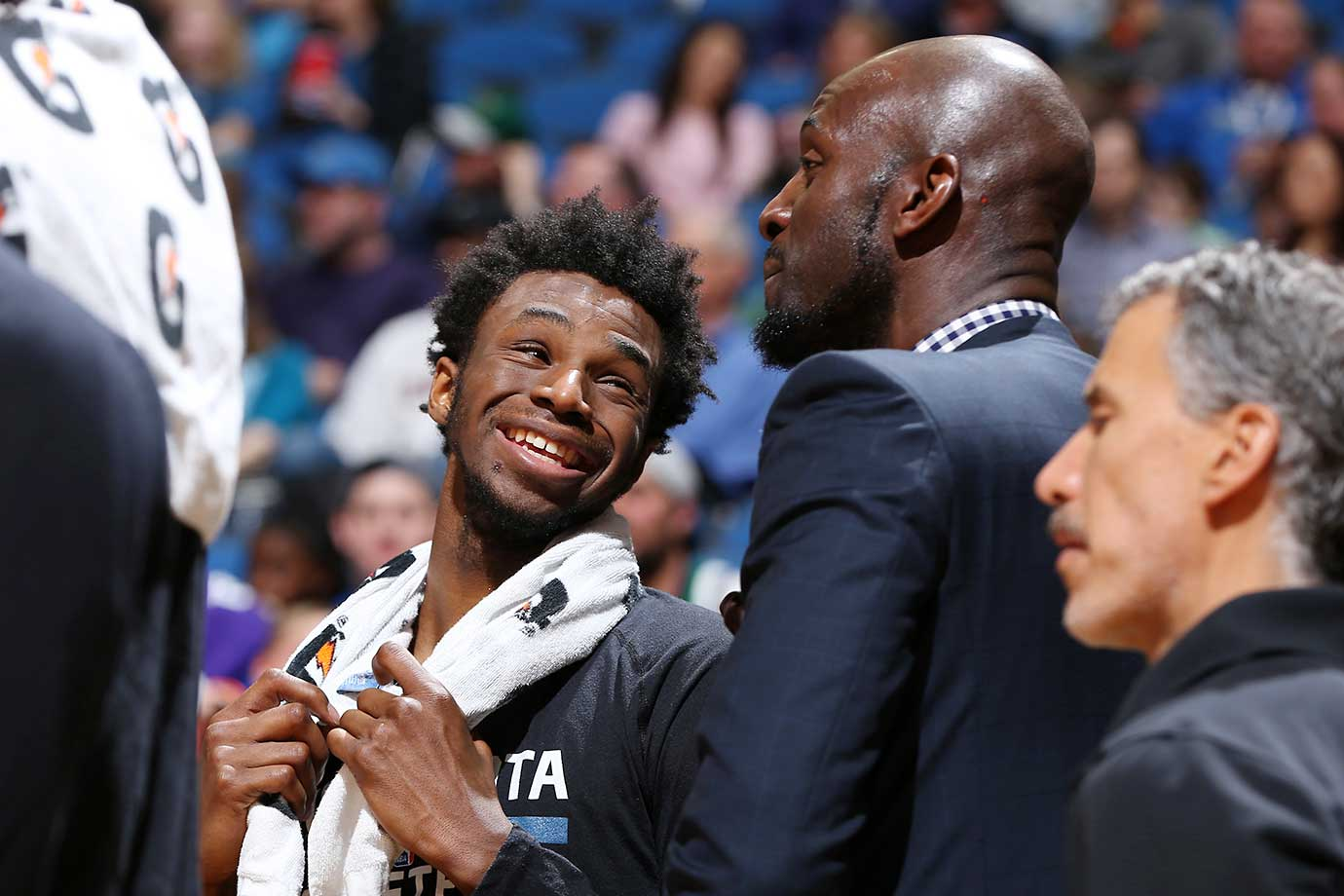 Andrew Wiggins and Kevin Garnett of the Minnesota Timberwolves during the game against the Dallas Mavericks.