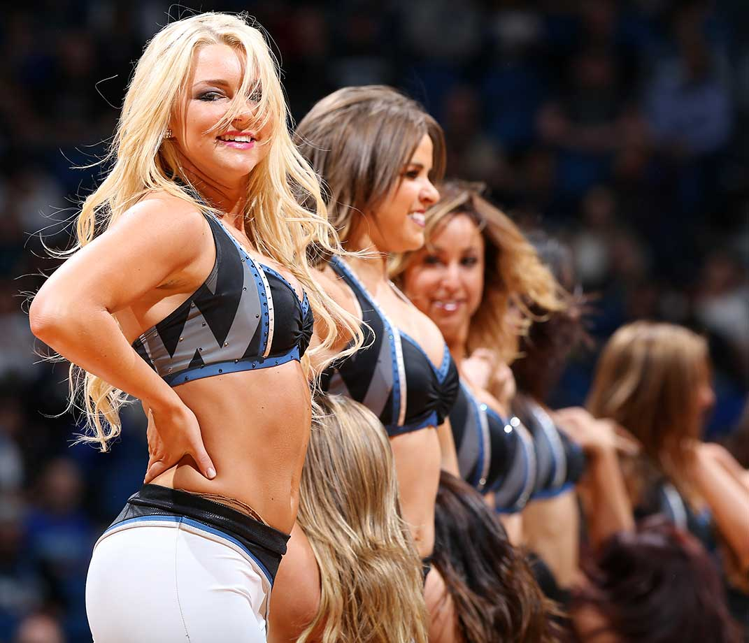 The Minnesota Timberwolves dance team is seen against the Dallas Mavericks.