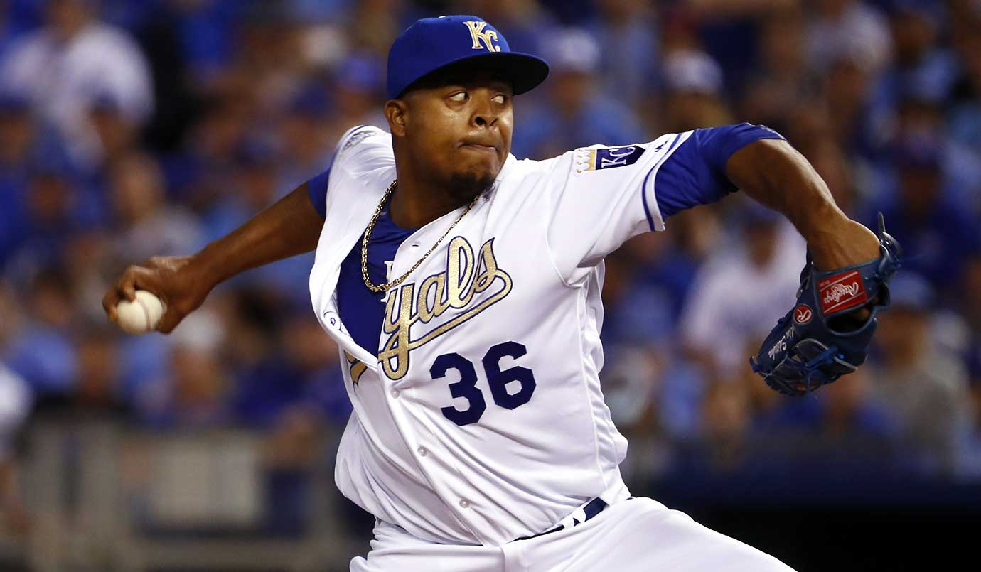 Edison Volquez of the Kansas City Royals allowed two hits and three walks over six scoreless innings in a 4-3 win over the New York Mets.
