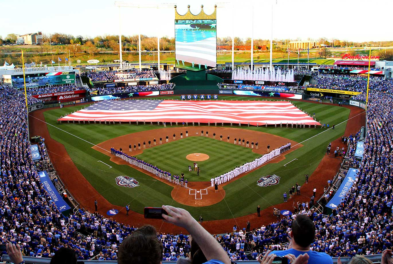 A view of Kauffman Stadium prior to the opening day game between the Kansas City Royals and the New York Mets.