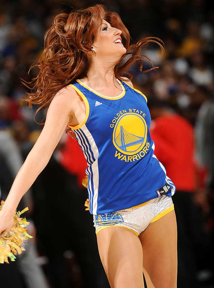 A dancers performs during the game between the Portland Trail Blazers and Golden State Warriors.