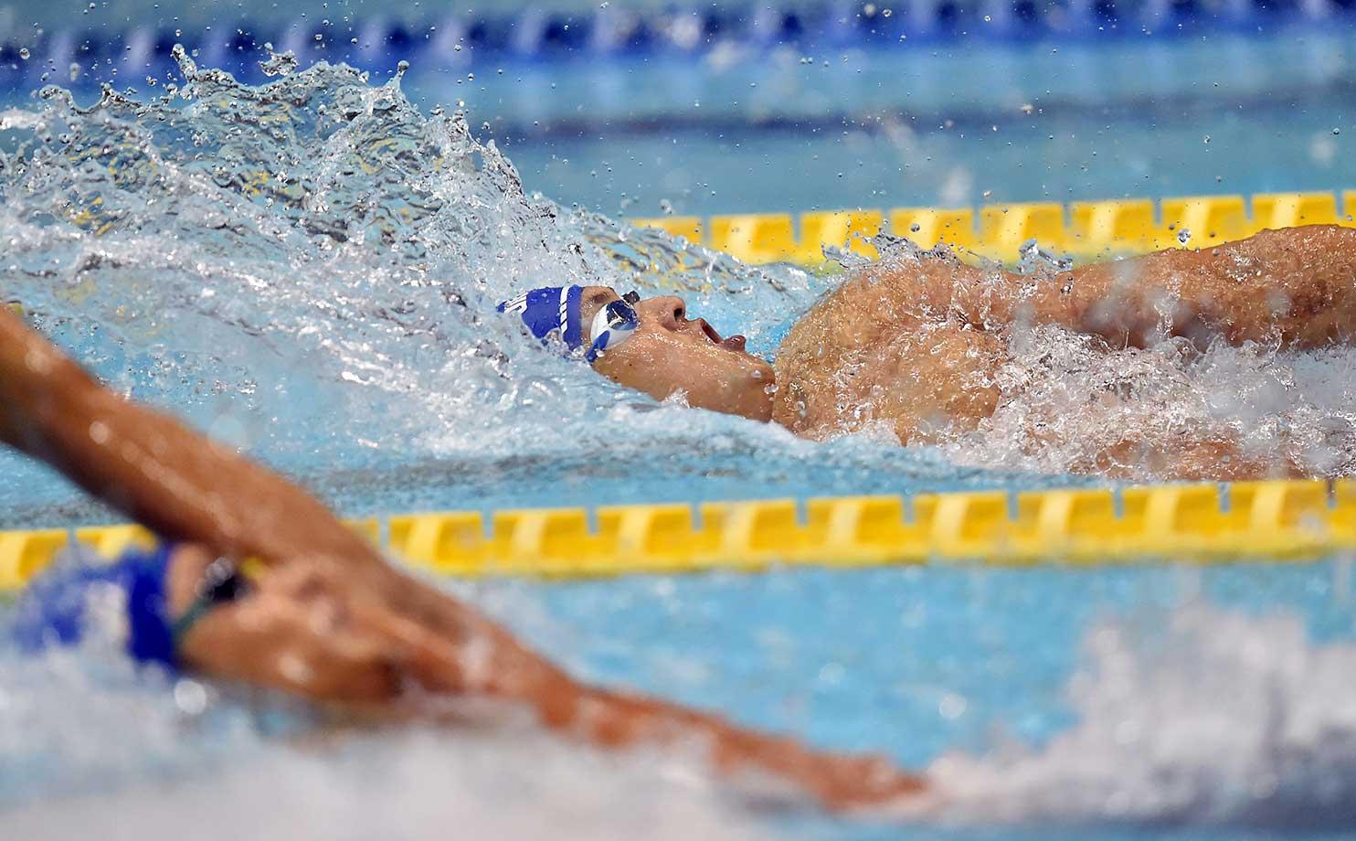 Junya Koga of Japan competes in a 100m backstroke semifinal during the Japan Swim 2016 in Tokyo.