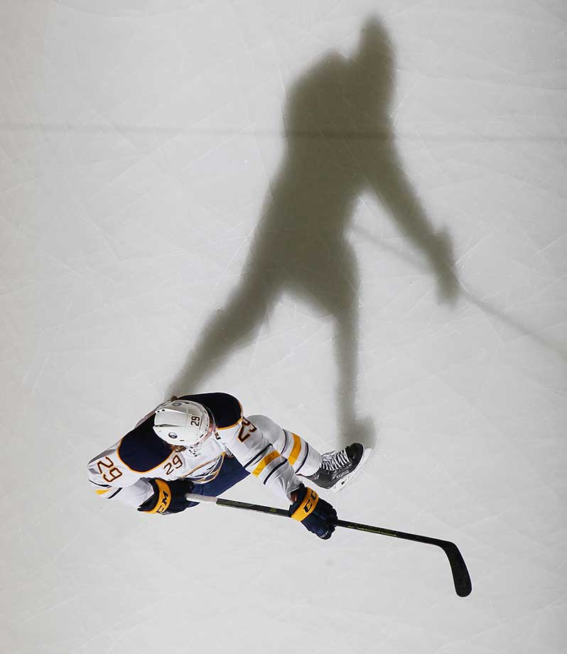 Jake McCabe of the Buffalo Sabres skates in warmups prior to a game against the New Jersey Devils.
